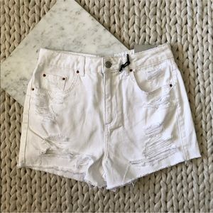 TopShop Mom High Rise White Distressed Jean Shorts